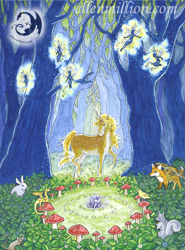 Unicorn and fairies in forest