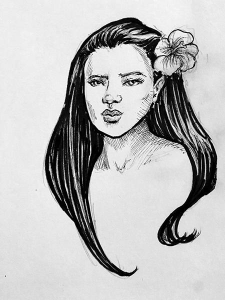 portrait ink sketch